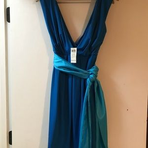 Arden B. NWT Blue on Blue Belted Deep V Dress SZ M